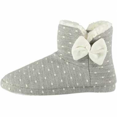 Goedkope dames hoge pantoffels/sloffen stippen grijs maat