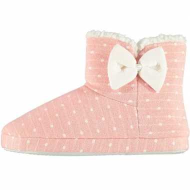 Goedkope dames hoge pantoffels/sloffen stippen roze maat