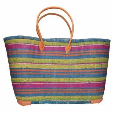 Damestas rieten strandtas blauw/roze/groen strepen goedkope