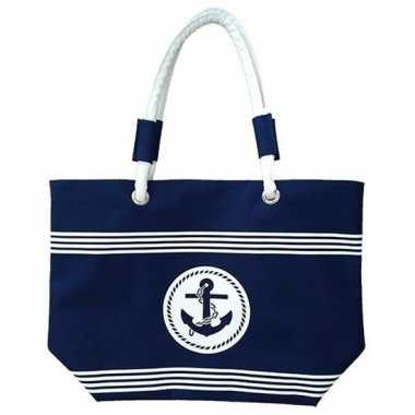 Goedkope damestas strandtas maritiem blauw/wit strepen calais
