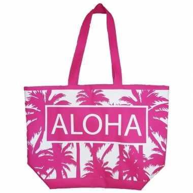 Goedkope damestas strandtas palmbomen roze/wit aloha