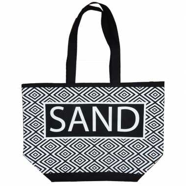 Goedkope damestas strandtas zigzag zwart/wit sand