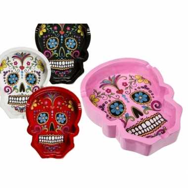 Goedkope day of the dead asbak zwart