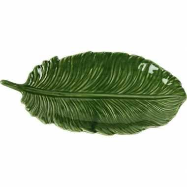 Goedkope decoratie bord/schaal groen blad porselein
