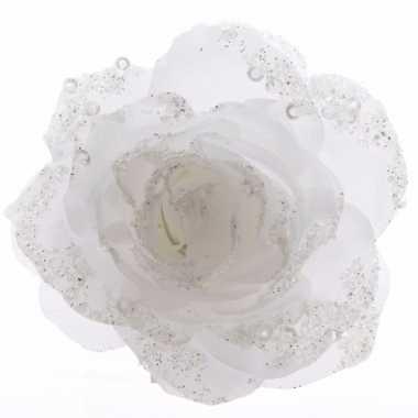 Goedkope decoratie kunstbloem roos bloem winter wit