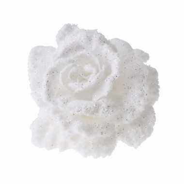 Goedkope decoratie kunstbloem roos wit