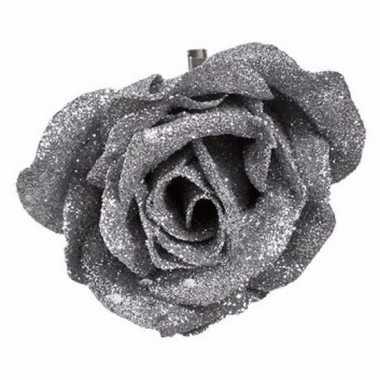 Goedkope decoratie kunstbloem roos zilver