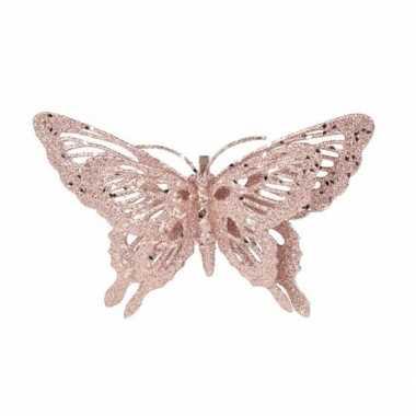 Goedkope decoratie vlinder roze