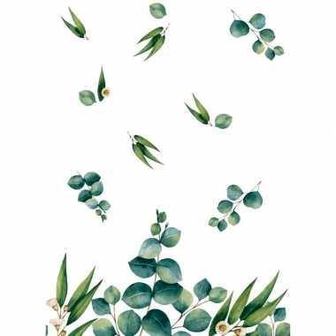 Goedkope design tafelkleed/tafellaken eucalyptus wit/groen
