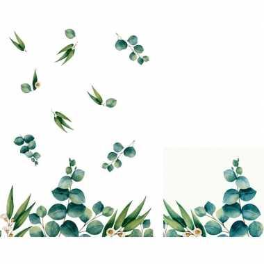 Goedkope design thema tafeldecoratie set eucalyptus servetten/tafelkl