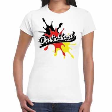 Goedkope deutschland/duitsland t shirt spetter wit dames