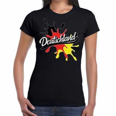 Goedkope deutschland/duitsland t shirt spetter zwart dames
