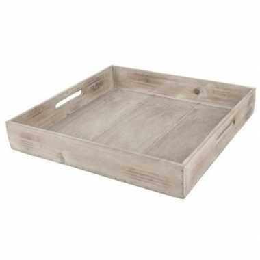 Goedkope dienblad/plateau/tray bruin hout vierkant handvat
