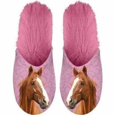 Goedkope dieren paarden instap sloffen/pantoffels roze dames