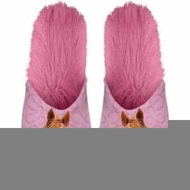 Goedkope dieren paarden instap sloffen/pantoffels roze meisjes