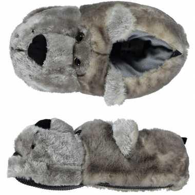 Goedkope dieren sloffen/pantoffels beer grijs dames