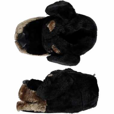 Goedkope dieren sloffen/pantoffels hond zwart kinderen