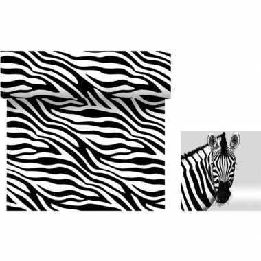 Goedkope dieren thema tafeldecoratie set zebra tafelloper/servetten