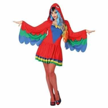 Goedkope dieren verkleed jurkje papegaai dames