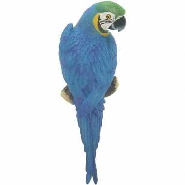 Goedkope dierenbeeld blauwe ara papegaai vogel tuinbeeld hangdeco