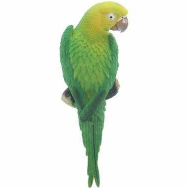 Goedkope dierenbeeld groene ara papegaai vogel tuinbeeld hangdeco