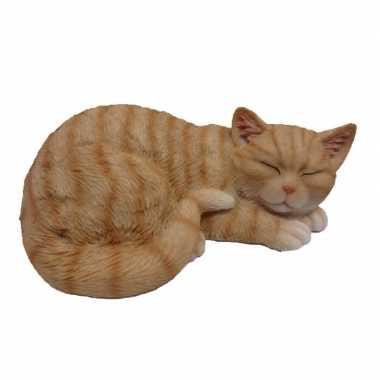 Goedkope dierenbeeld slapende kat/poes rood/wit