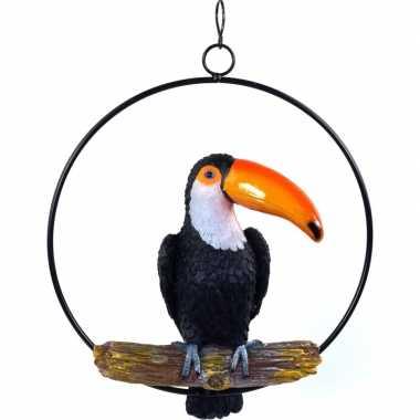 Goedkope dierenbeeld toekan vogel ring tuinbeeld hangdecoratie