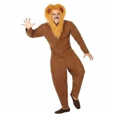 Goedkope dierenpak verkleed kostuum bruine leeuw volwassenen