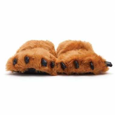 Goedkope dierenpoot pantoffels/sloffen beer volwassenen bruin /