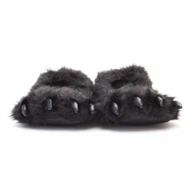 Goedkope dierenpoot pantoffels/sloffen beer volwassenen zwart /