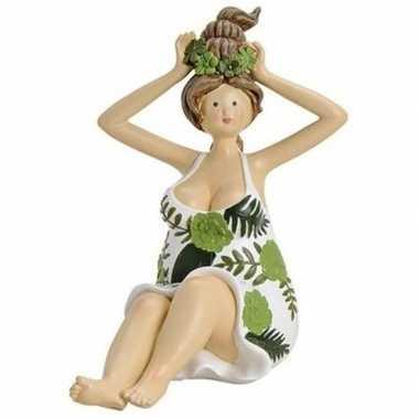 Goedkope dikke dame beeldje groen/wit jurkje