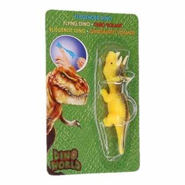 Goedkope dino world mini dino katapult triceratops geel