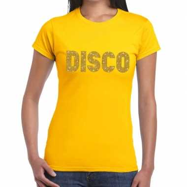 Goedkope disco goud glitter t shirt geel dames