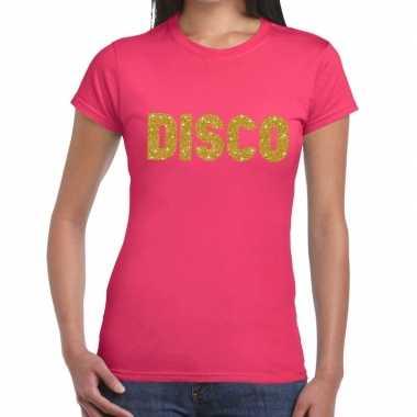 Goedkope disco goud glitter tekst t shirt roze dames