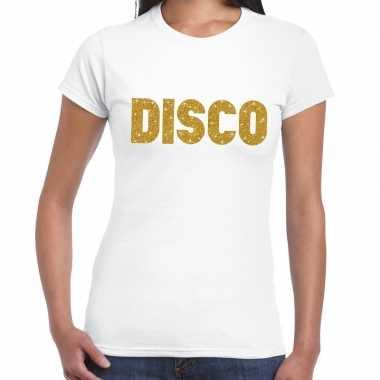 Goedkope disco goud glitter tekst t shirt wit dames