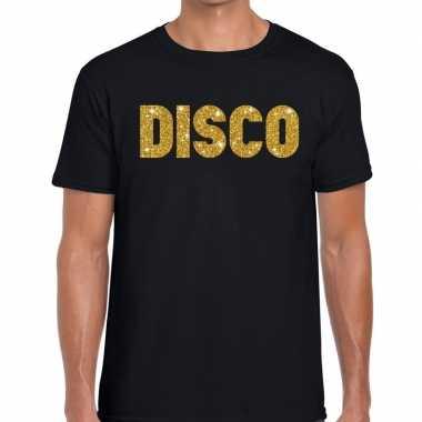 Goedkope disco gouden glitter tekst t shirt zwart heren