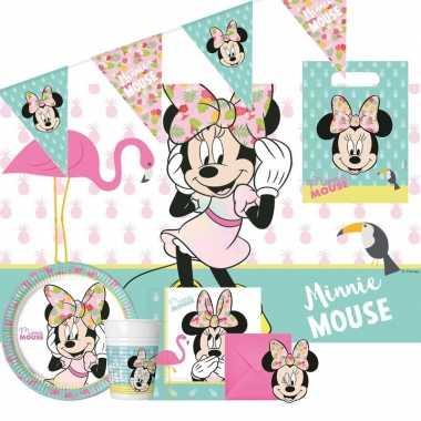 Goedkope disney minnie mouse thema kinderfeestje feestpakket personen