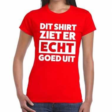 Goedkope dit shirt ziet er echt goed uit tekst t shirt rood dames