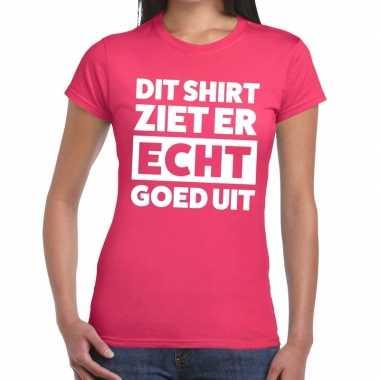 Goedkope dit shirt ziet er echt goed uit tekst t shirt roze dames