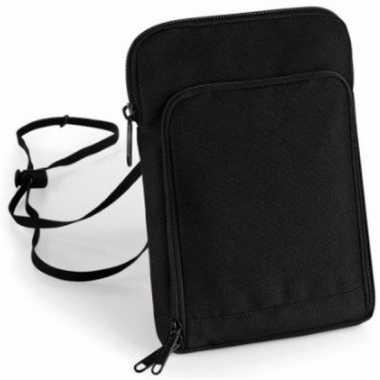 Goedkope documenten halstas / nektasje reisportemonee zwart