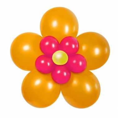 Goedkope doe zelf ballon set bloem oranje roze
