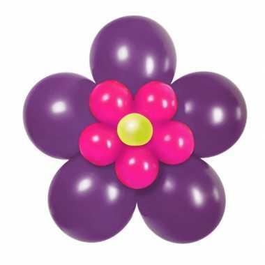 Goedkope doe zelf ballon set bloem paars/roze