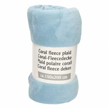 Goedkope donker babyblauwe fleece deken