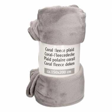 Goedkope donker grijs gemeleerde fleece deken
