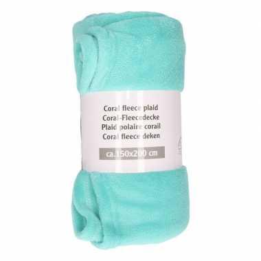 Goedkope donker mintgroene fleece deken