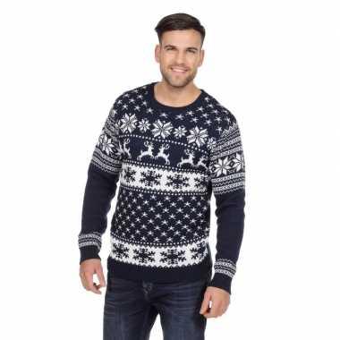 Goedkope donkerblauwe kerst trui rendieren heren