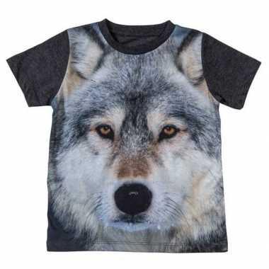 Goedkope donkergrijs t shirt wolf kinderen