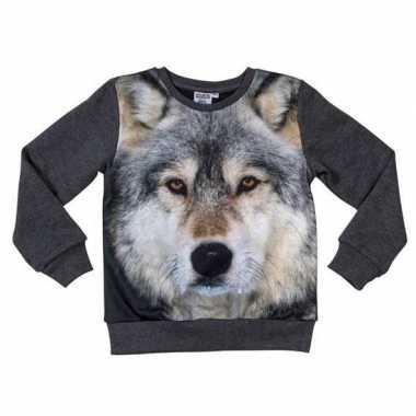 Goedkope donkergrijze sweater wolf kinderen