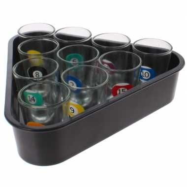 Goedkope drankspel/drinkspel beer pong set biljart shotglaasjes