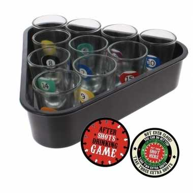 Goedkope drankspel/drinkspel biljart shotglaasjes after shots viltjes